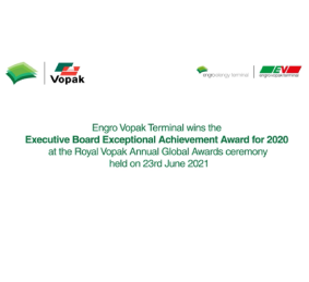 Engro Vopak Terminal received the Executive Board Exceptional Achievement Award for 2020